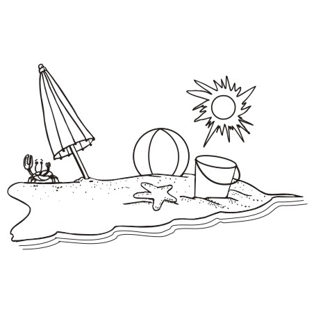 Gallery For gt Clip Art Beach Black And White